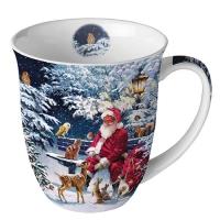 Porzellan-Tasse -  0.4 L Santa On Bench