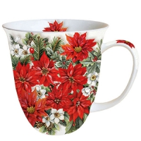Porzellan-Tasse -  0.4 L Poinsettia All Over
