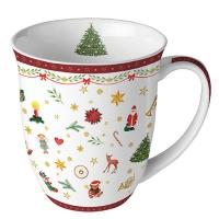 Porzellan-Tasse - Ornaments All Over Red