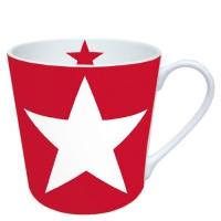 Porzellan-Henkelbecher Star Red
