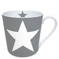 Porzellan-Henkelbecher Star Grey