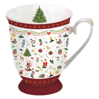 Porzellan-Tasse - Ornaments All Over Red
