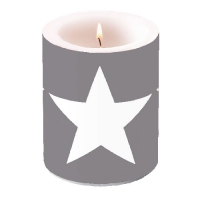 Dekorkerze CANDLE STAR GREY