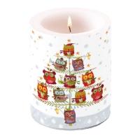 Dekorkerze - Weihnachtsbaum mit Eulen