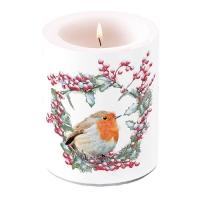 Dekorkerze - Robin In Wreath