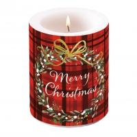 Dekorkerze - Christmas Plaid Red
