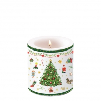 Dekorkerze klein - Christmas Evergreen White