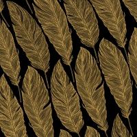 Servietten 33x33 cm - Feathers, schwarz