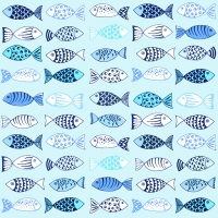 Servietten 33x33 cm - Many Fishes