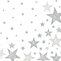 Servietten 33x33 cm - Shining Star White