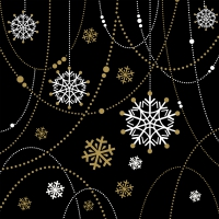 Servietten 33x33 cm - Snow Necklace Black
