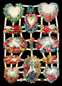 Glanzbilder mit Glimmer Herz mit Blumen+V?gel