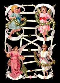 Glanzbilder mit Glimmer 4 Engel mit Blumen