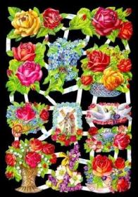 Glanzbilder mit Silber-Glimmer - viele Rosen