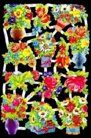 Glanzbilder mit Silber-Glimmer - Rosen und verschiedene Blumen