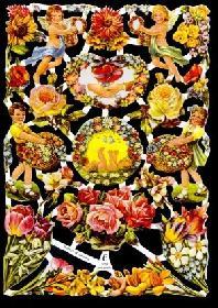 Glanzbilder - Blumenbogen in gelb