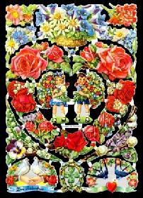 Glanzbilder - Blumenbogen mit Herz