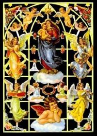 Glanzbilder mit Silber-Glimmer - Madonna mit Jesuskind