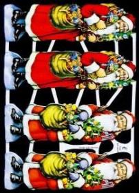 Glanzbilder mit Gold-Glimmer - vier Weihnachtsmänner im roten Mantel