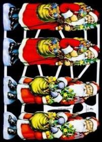 Glanzbilder mit Silber-Glimmer - vier Weihnachtsmänner im roten Mantel