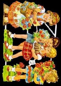 Glanzbilder 4 Kinder  50er Jahre