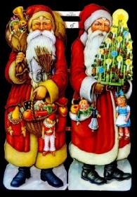 Glanzbilder mit Gold-Glimmer - zwei Weihnachtsmänner im roten Mantel