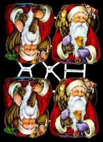 Glanzbilder - 5 Weihnachtsmannköpfe