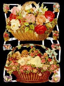 Glanzbilder - 2 Blumenkörbe