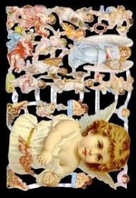 Glanzbilder mit Gold-Glimmer - großer Engel & viele kleine Engel