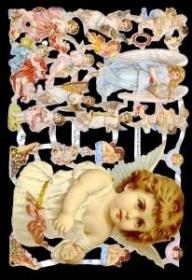 Glanzbilder mit Silber-Glimmer - großer Engel & viele kleine Engel