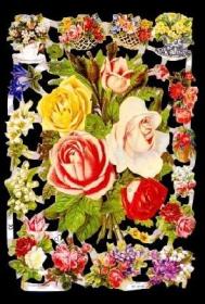 Glanzbilder mit Silber-Glimmer - Rosenstrauß von Blumen umgeben