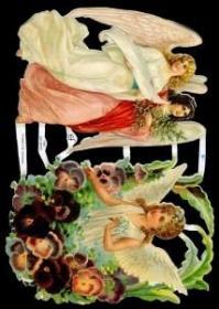 Glanzbilder mit Gold-Glimmer - 2 große Engel und ein Engel in Blumen