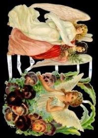 Glanzbilder mit Silber-Glimmer - 2 große Engel und ein Engel in Blumen