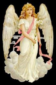 Glanzbilder mit Gold-Glimmer - großer Engel auf Wolke