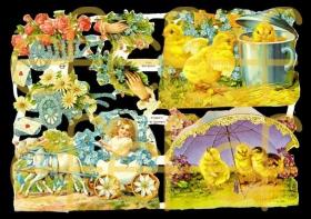 Glanzbilder mit Silber-Glimmer - Küken und Blumenkarren