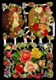 Glanzbilder mit Silber-Glimmer - 2 Blumenkörbe und Rosenstrauß