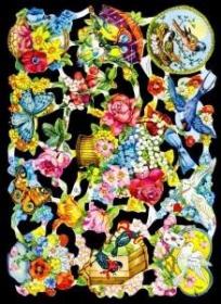 Glanzbilder mit Silber-Glimmer - Blumen mit Vögeln und Schmetterlinge