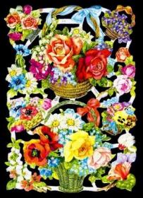 Glanzbilder mit Silber-Glimmer - Rosenkörbe und verschiedene Blumen