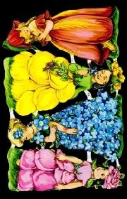 Glanzbilder - 4 Blumenkinder