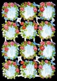 Glanzbilder mit Silber-Glimmer - 12 Sprüche im Blumenkranz