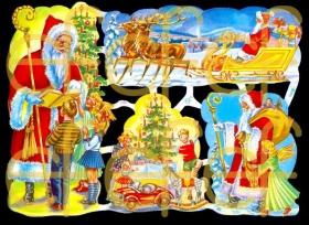 Glanzbilder mit Silber-Glimmer - Weihnachtsmann im großen Schlitten