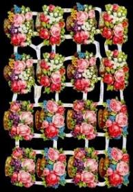 Glanzbilder mit Silber-Glimmer - 16 Blumenkörbe