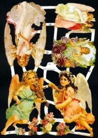 Glanzbilder mit Gold-Glimmer - verschiedene Engel