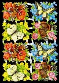 Glanzbilder mit Silber-Glimmer - Blumen mit Schmetterlingen