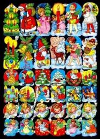 Glanzbilder mit Gold-Glimmer - 36 verschiedene Weihnachtsbildchen