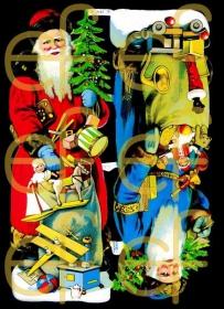 Glanzbilder mit Silber-Glimmer - zwei große Weihnachtsmänner