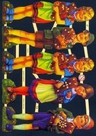 Glanzbilder - 5 Kinder mit Lebkuchen