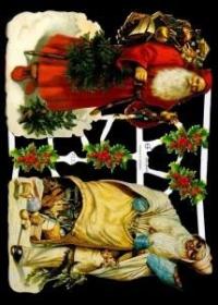 Glanzbilder mit Silber-Glimmer - zwei Weihnachtsmänner