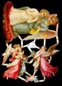 Glanzbilder mit Silber-Glimmer - verschiedene Engel