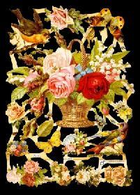 Glanzbilder - Blumenkorb mit Tieren